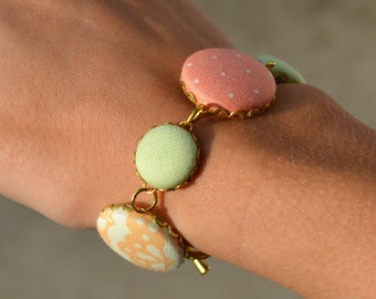 Pastel Fabric Covered Button Bracelet