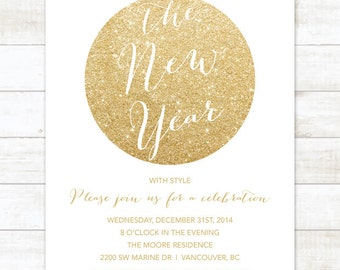 white gold new years party invitation, new years eve invitation invitation, white gold glitter invitation digital invite customizable