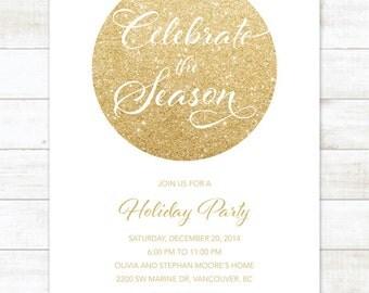 white gold christmas party invitation, white gold glitter holiday invitation, christmas party invitation digital invite customizable