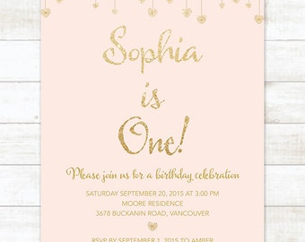Pink Gold First Birthday Invitation Pink Gold Glitter Hearts - First birthday invitations girl pink and gold
