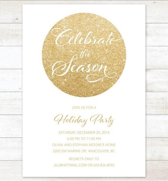 White Gold Christmas Party Invitation White Gold Glitter