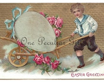 Antique Easter postcard of a boy pushing a cart with a giant white egg surrounded by pink roses INSTANT download