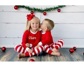 Red stripe pajamas | Etsy