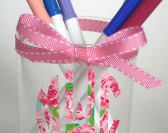 Lilly Pulitzer Inspired Monogram Pencil Holder