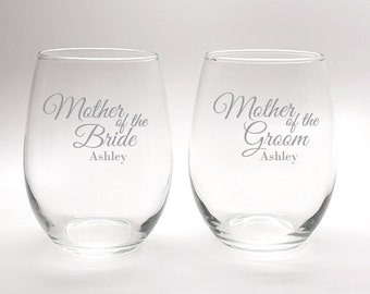 Mother of the Bride & Mother of Groom Engraved Stemless Wine Glass- 15oz - Mother of Bride Gift Mother of Groom Gift
