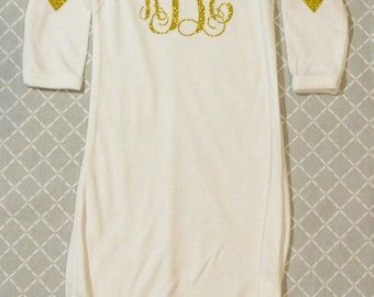 Lovely Baby Gown  White Gown/ Gold Monogram