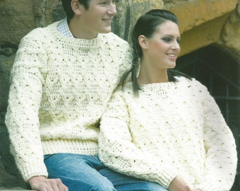 Instant Download - PDF- Lovely Ladies Aran Jumper Crochet Pattern (AD1)