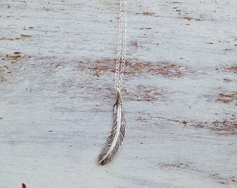 Feather necklace, sterling silver necklace,silver feather necklace, layered necklace, boho necklace- 10080