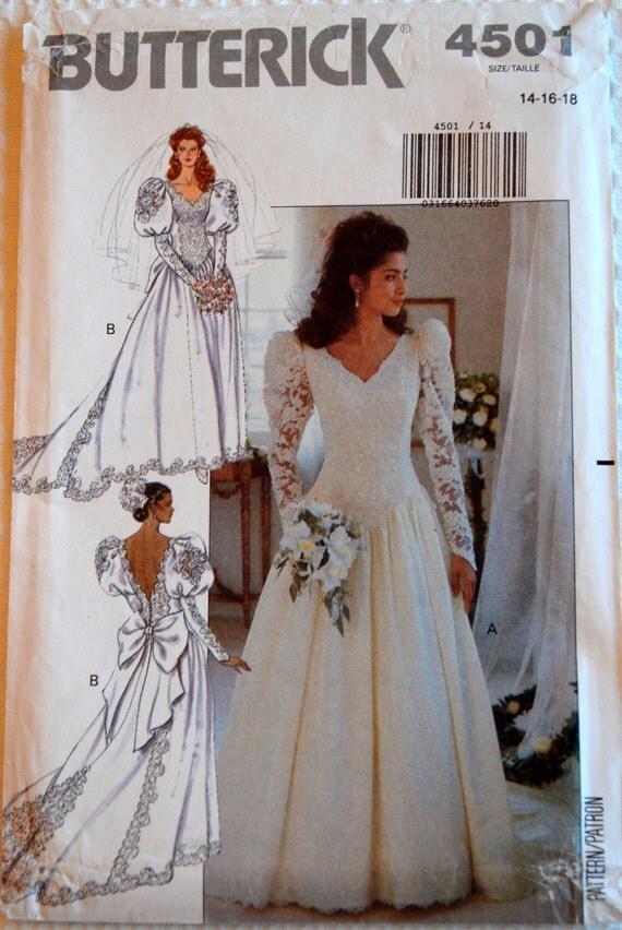 Patron de couture butterick vintage 4501 robe de mariee jeune for Patron de robe de mariée