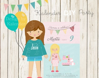 Personalized Birthday Party. Teenager Sewwing invitation-1. DIY Printable.