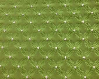 Green Connect the Dots Fabric - Upholstery Fabric By The Yard