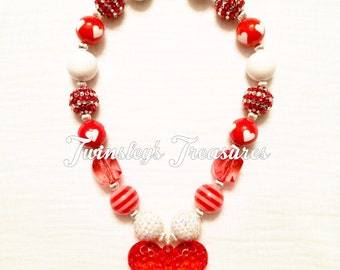 Red and White Heart Chunky Beaded Bubblegum Necklace