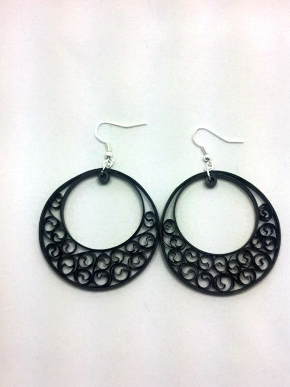 paper quilling black earrings big by sweetheartsandcrafts
