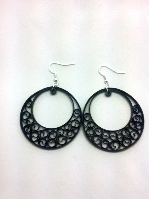 Paper quilling black earrings big by sweetheartsandcrafts for Big quilling designs