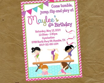 Gymnastics Birthday Party Invitation -Digital or Printed