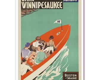 Vintage Lake Winnipesaukee, New Hampshire Travel Poster - Old Boat Posters - Retro Wall Decor - 3 Print Sizes
