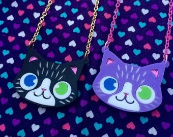 Kawaii Kitty Laser Cut Necklace- Choose Colour