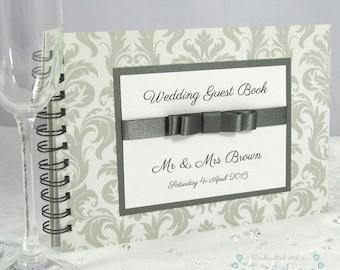Just Grand Handmade Spiral Bound Silver Wedding Guest Book / Photo Book