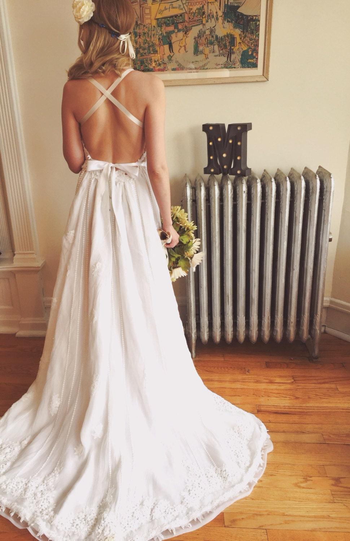 Backless bohemian wedding dress for Backless bohemian wedding dress