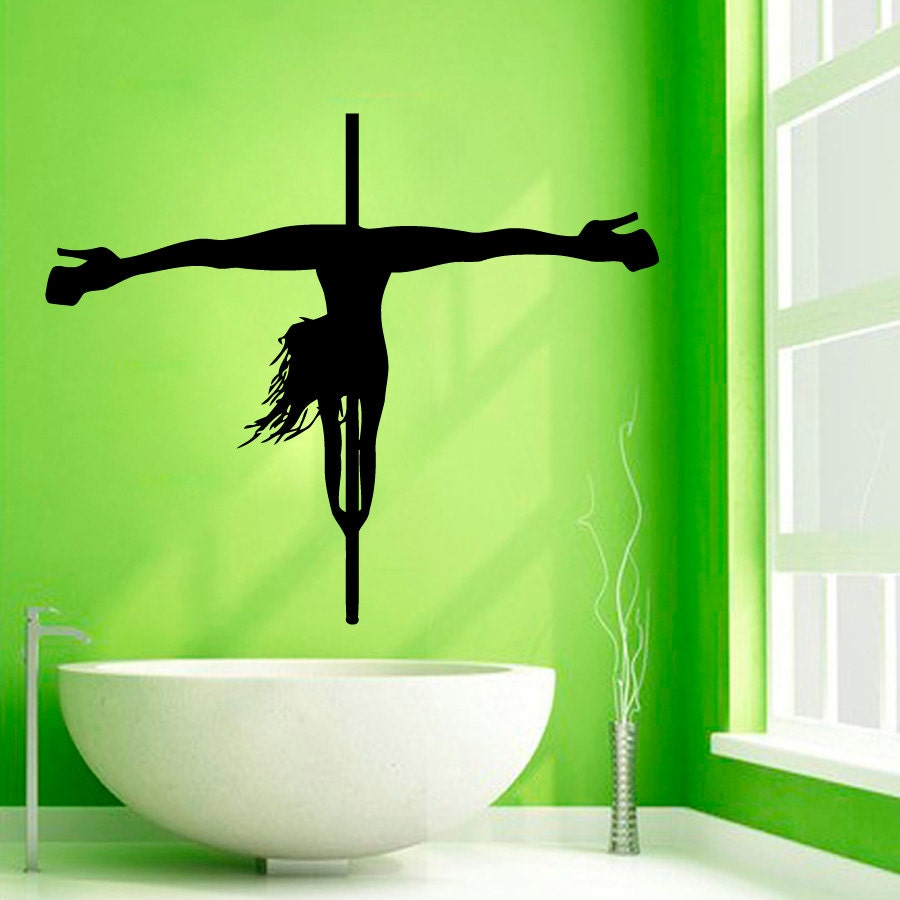 Pole dance wall decals striptease girl dancer beauty salon - Decoration mural salon ...