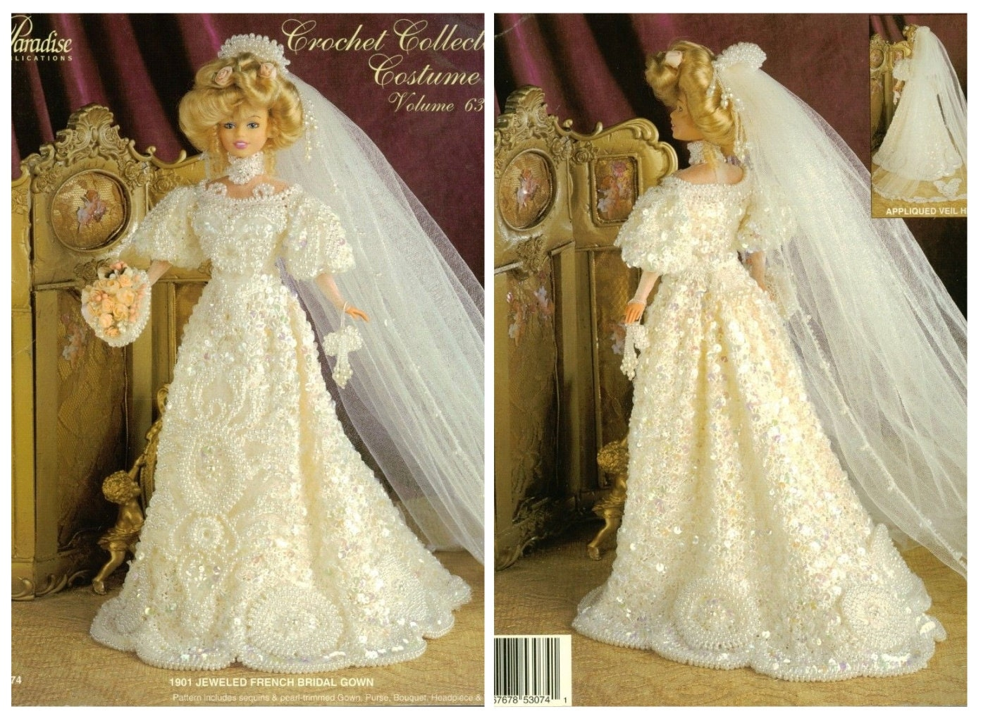Jeweled French Bridal Gown Dress Crochet Doll Dress