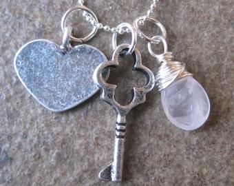 Promise  (necklace, charms, heart, love, key, rose quartz)