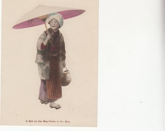 C1910s  Japanese Girl On The Way Home In The Rain Color tinting, Big Traditional Umbrella