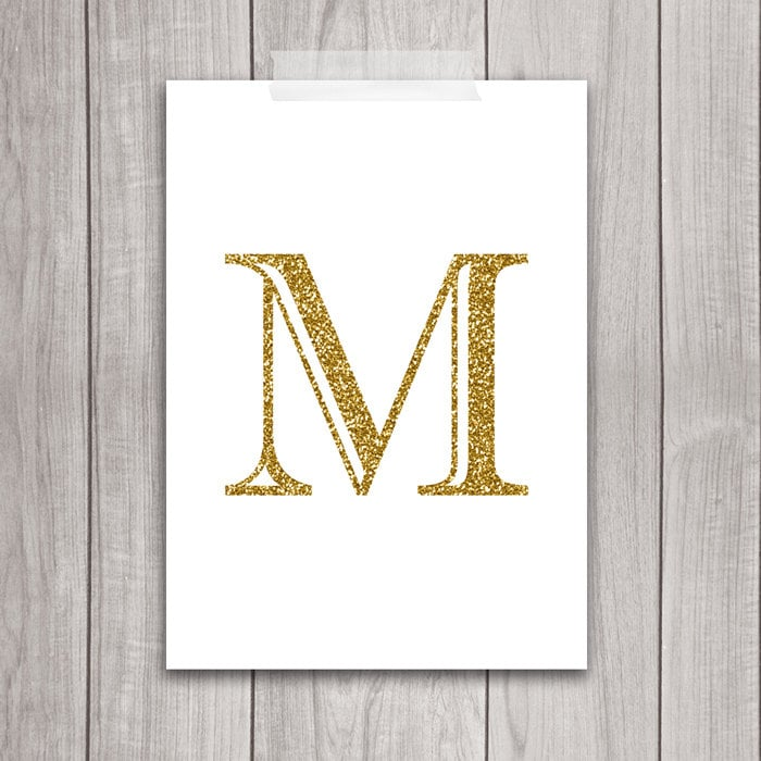 75 off sale gold letter art 5x7 letter m wall art gold for Gold wall decor letters