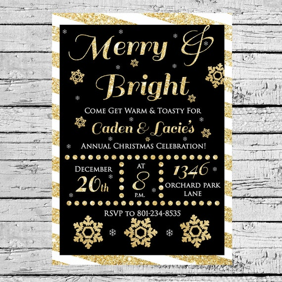 Merry and Bright gold glitter invitation