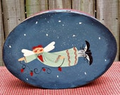 Primitive Angel Hand Painted Oval Cheese Box - Home Decor - OFG, FAAP, HAFAIR