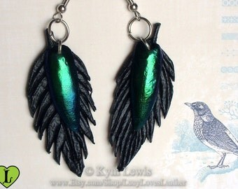 Black Leather, Feather Earrings, Jewel Beetle Wings, Raven Feather, Black and Green, Hypoallergenic Earrings, Jewel Beetle Earrings