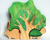 WALDORF Wooden PUZZLE TREE with turtle and rabbit / woodland animal set Puzzle/ Handmade Wooden Toy Waldorf Inspired