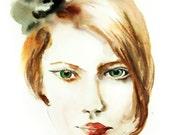Woman Portrait Watercolor Painting Art Print, Beauty Fashion Illustration