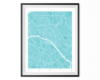 PARIS Map Art Print / France Poster / PARIS Wall Art Decor / Choose Size and Color