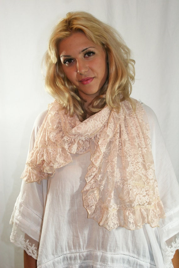 Shawl, Pink Lace,Shawl With Lace Ruffle,Delicate Lace, Lace Wrap, Large Lace Stole, Pale Pink Lace Scarf, Romantic Lace Shawl (SCF-233)