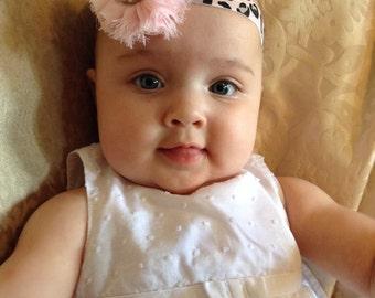 Pink Leopard Headband, Newborn Headband, Pink Flower Headband, Headband for Newborn, Headband for Girls, Flower Headband