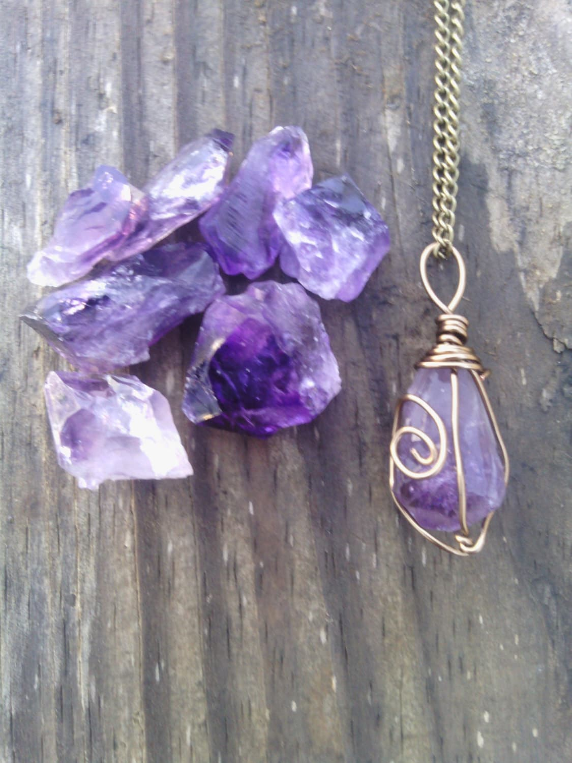 Raw Amethyst necklace amethyst necklace healing stone rough
