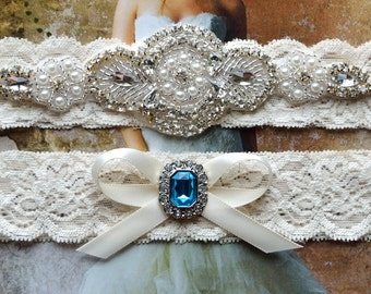 Crystal Wedding Garter, Garter, Wedding Garter Set, Blue Garter, Bridal Garter Set, Lace Garter, Blue Wedding Garter, Garter Set