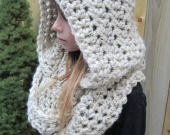 Crochet PDF Pattern - Crochet Pattern - Hooded Scarf - Hooded Infinity Scarf - Scoodie - Easy Crochet Pattern - Instant Download