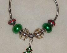 Whimsical Christmas Glass Bead & Charm Bracelet (Pandora style)