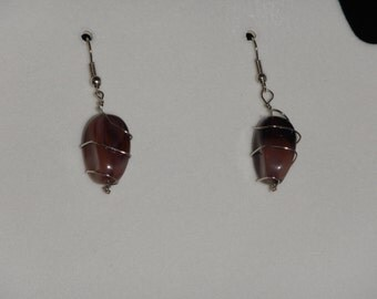 Wrapped Wire Stone Earrings
