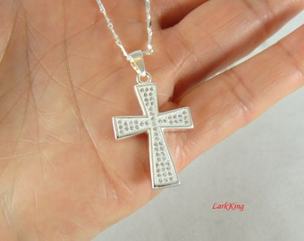 Cross necklace, sterling silver necklace cross, christian cross, cross jewelry, cross gifts, christian gift, religious gifts, NE105
