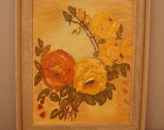 Mid Century Oil Painting - Floral Still Life - Yellow Rose - Framed Original