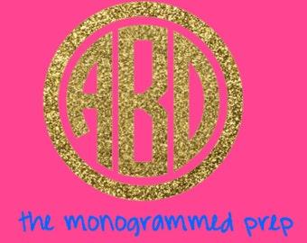 Monogram Sticker Monogram Decal Glitter Monogram Car Decal - Circle monogram car decal