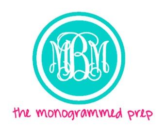 Monogram Car Decal, Circle Monogram Sticker,