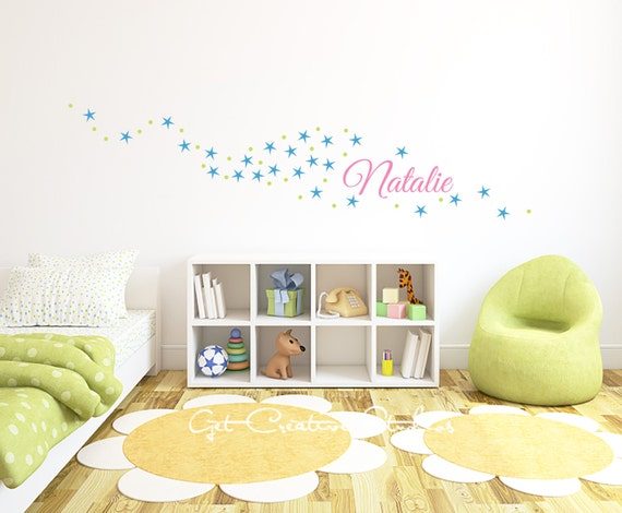 Sparkle star decal name wall decal girls room decor - Sparkle wall decor ...