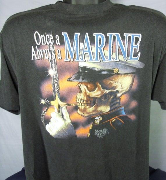 Once A Marine Always A Marine Vintage 3D Emblem Mens Size XL