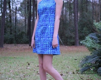 Cute 60's Sleeveless  Blue Shift Dress Size 7/8