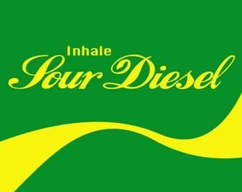 Inhale Series (5 options) - Cannabis Poster - Dab Art - Pot Leaf - 420 Print - Cheeba Sign Photo -  Weed Pipe - Bong Gear - Sour Diesel