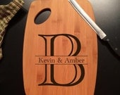 Monogram Letter with Custom Names Laser Engraved Bamboo Cutting Board
